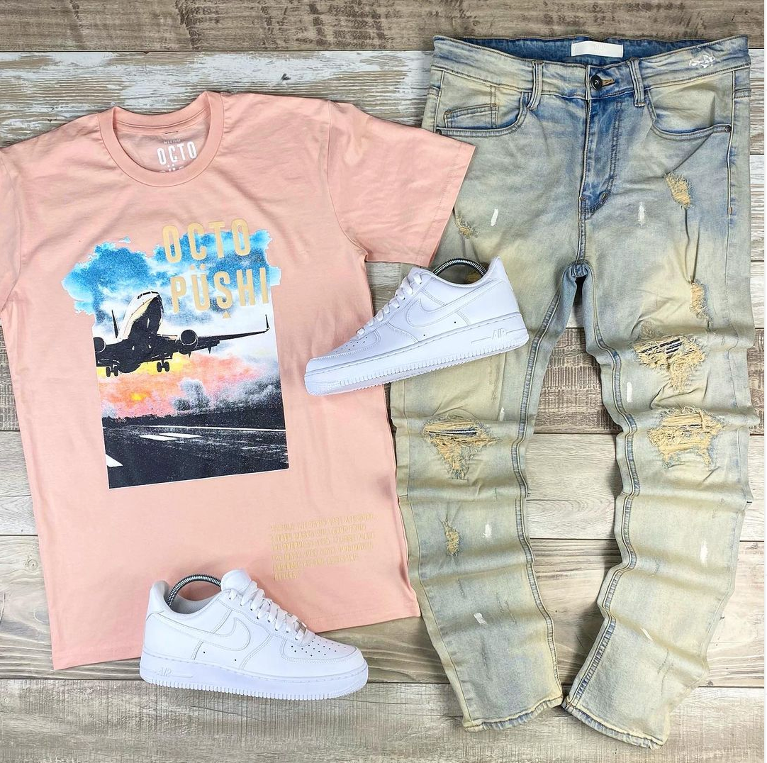 Airplane Take Off Tee (Blush) /D9