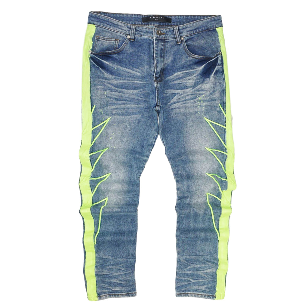Striped Denim Jeans (Neon) /C6