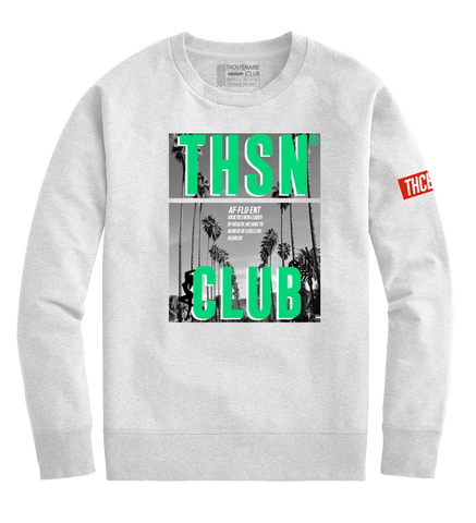 THSN Green Palm Crewneck (White)