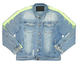 Striped Denim Jacket (Neon)