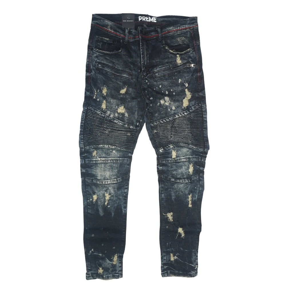 Biker Distressed Denim (Suva Blue Black)/C4