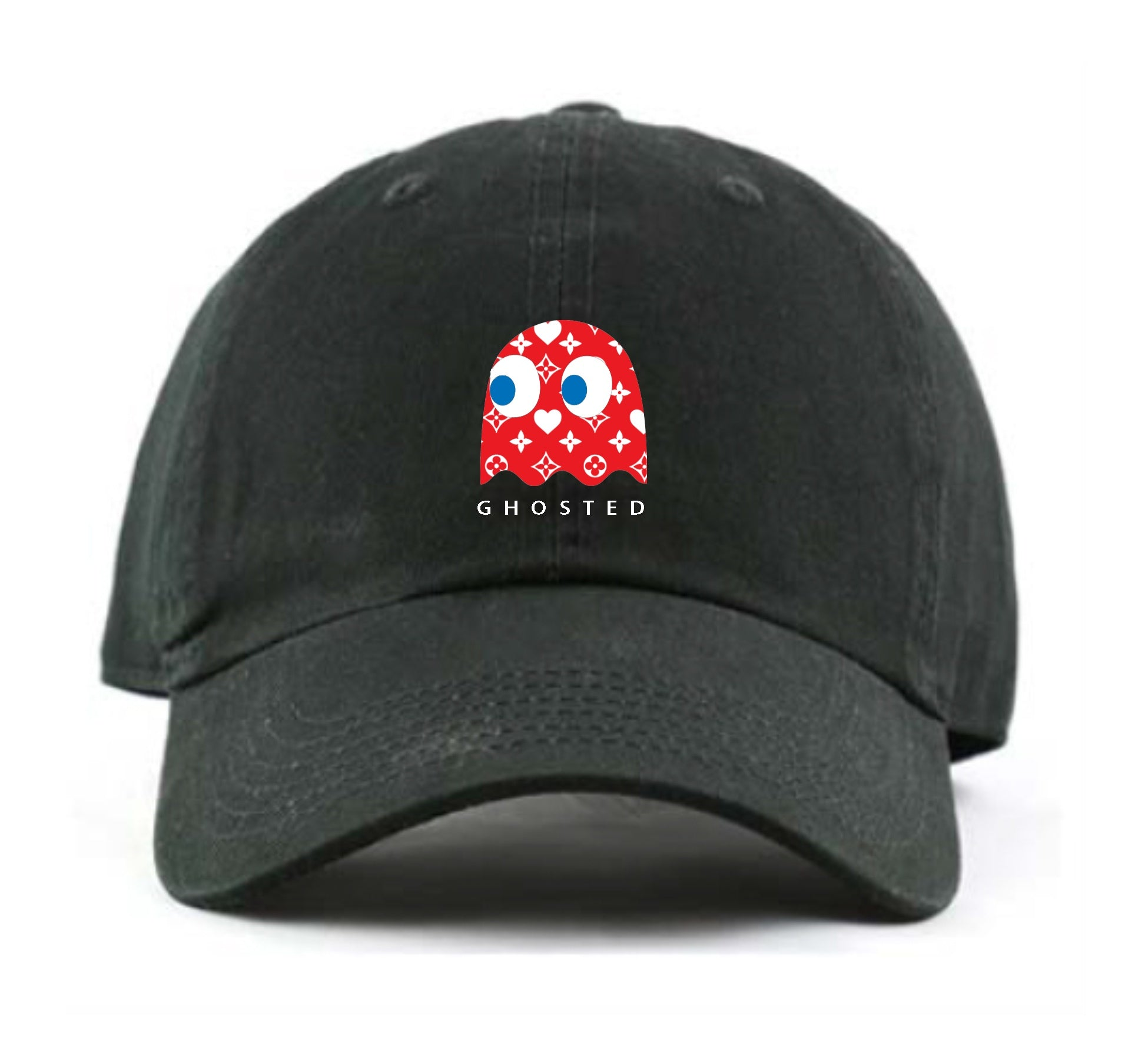 Ghosted Red Pacman Dad Hat (Black)
