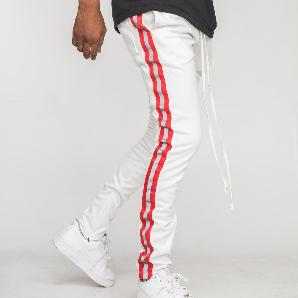 Reflective Tape Track Pants (White/Red) / D5