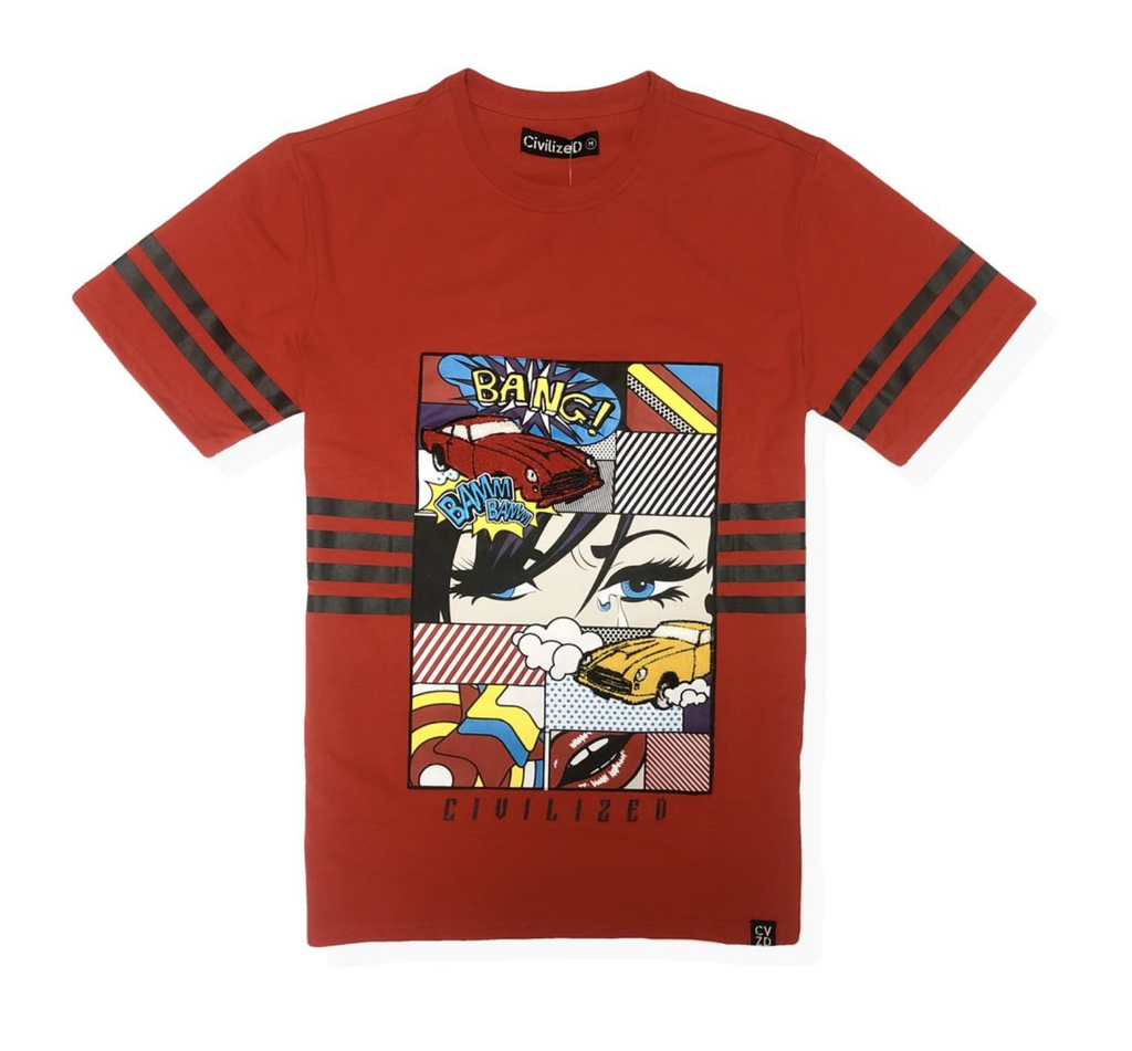 Retro Comic Bang Tee (Red) /D?