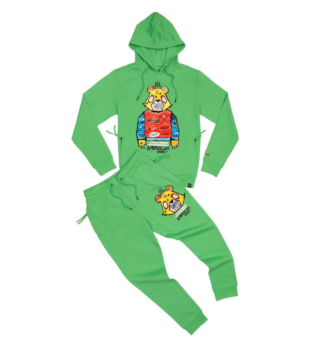 American Greed Hoodie Jogger Set (Green) /M2