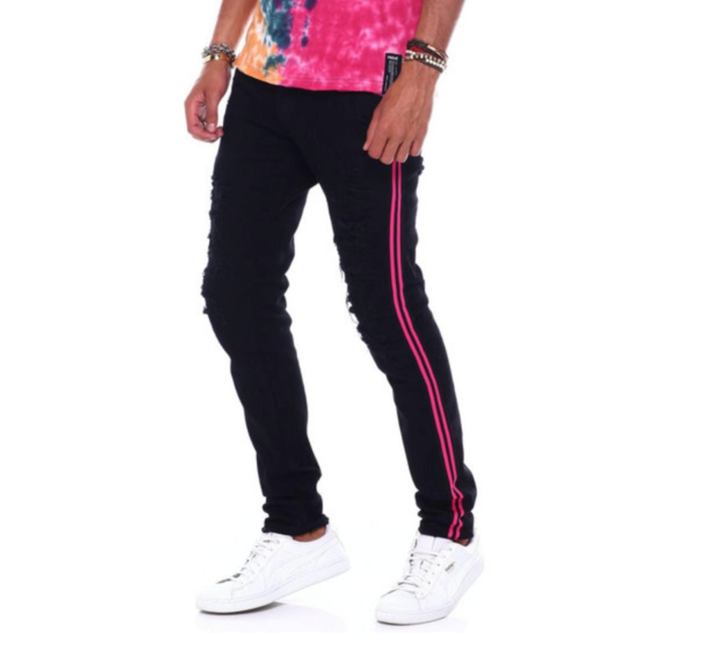 Distressed Denim Pink Stripe (Buffalo Black) /C6