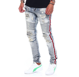 Distressed Biker Red Stripe Denim (Male Indigo) /C3