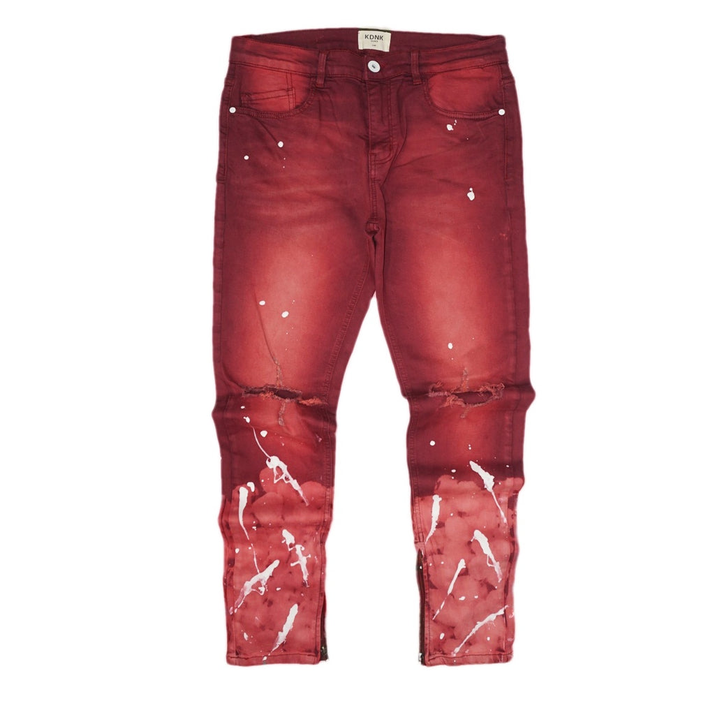 Splashed Ankle Zip Denim (Maroon) / C7