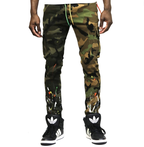Wild Stone Washed Skinny Mixed Pants (Camo)