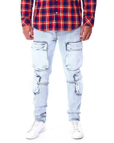 Slim Front Cargo Pocket Jeans (Acid Blue) / C4