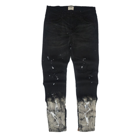 Splashed Ankle Zip Denim (Black) / C4