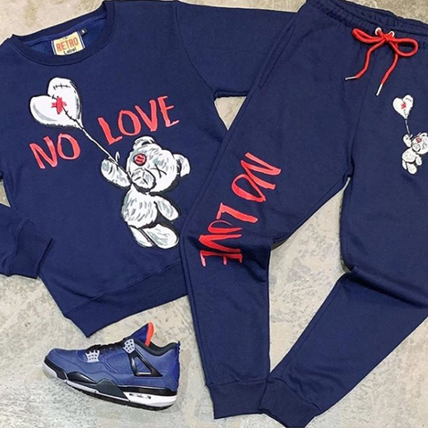 No Love Fleece Set (Navy/Red) / D14