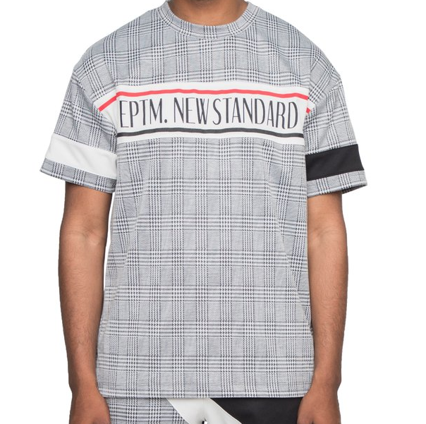 Plaid Logo Tee (Black/Wte) / D2