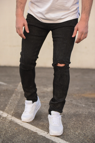 Mosey Distressed Stretch Denim (Black) /C2