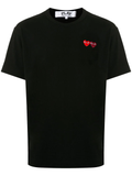 Double Heart Appliquéd Tee (Black) D9