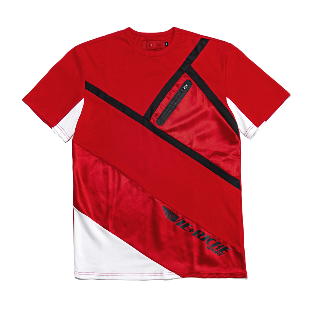 Color Block Zipper Tee (Red) /D3