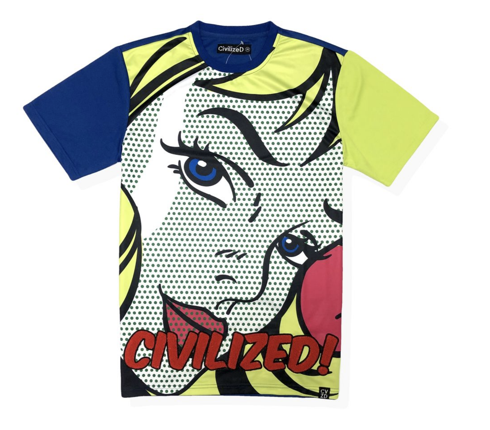 Retro Comic Civilized Tee (Green) / D14