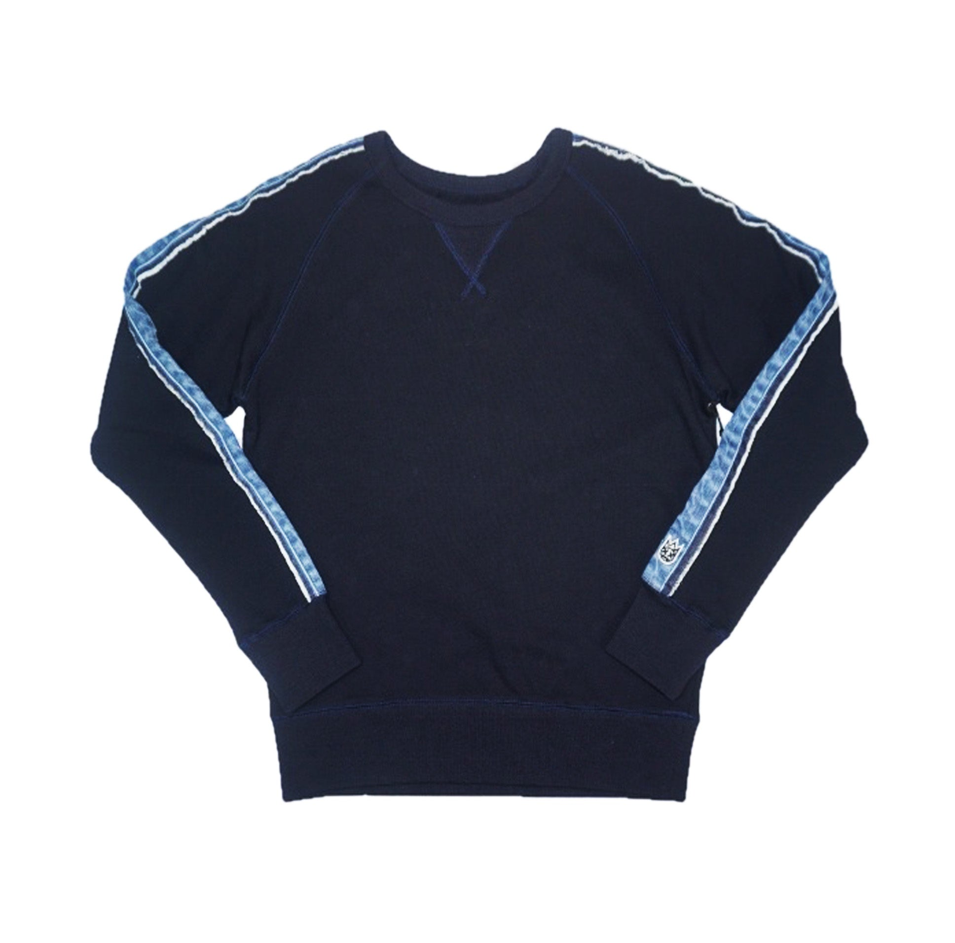 French Terry Fleece Denim Stripe Crewneck (Navy)MD1