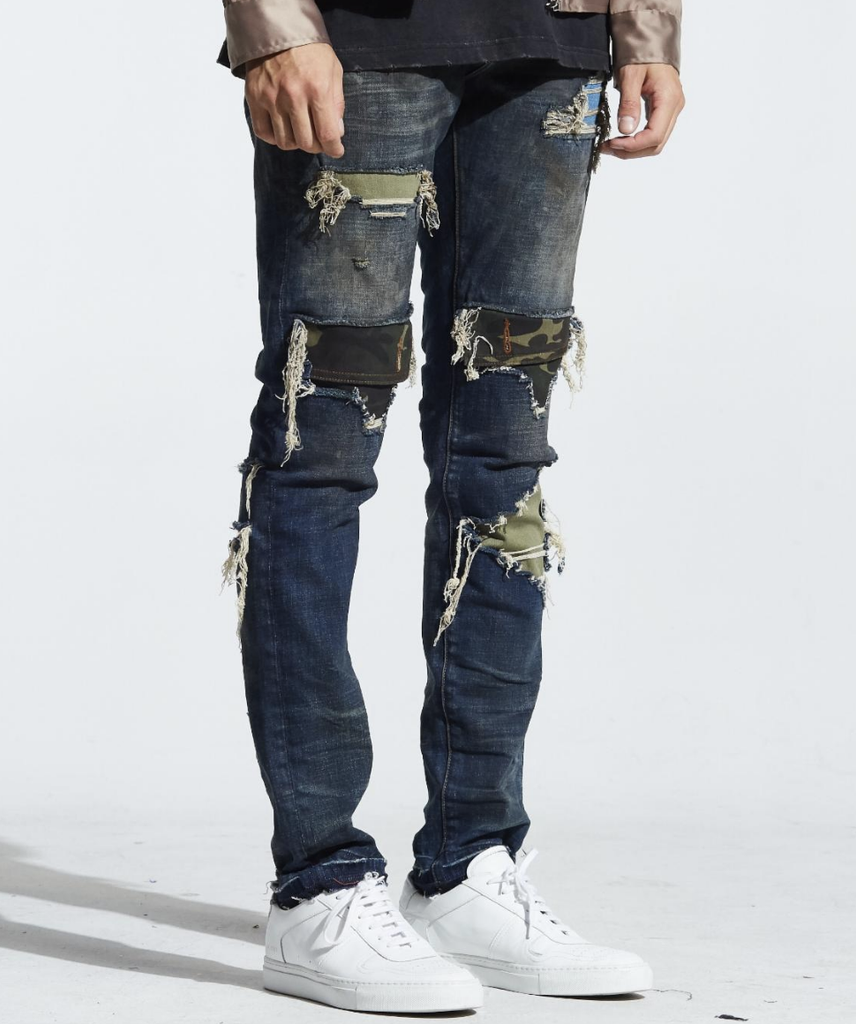 Malaki Rip and Repair Camo Patch Denim (Blue) /C7