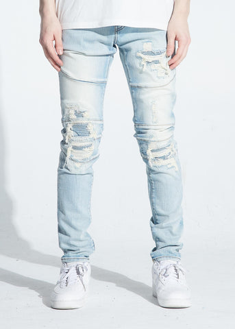 Biker Distressed Montana Denim (Lt. Wash) / C2