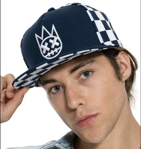 Checker Mesh Trucker Hat (Navy)