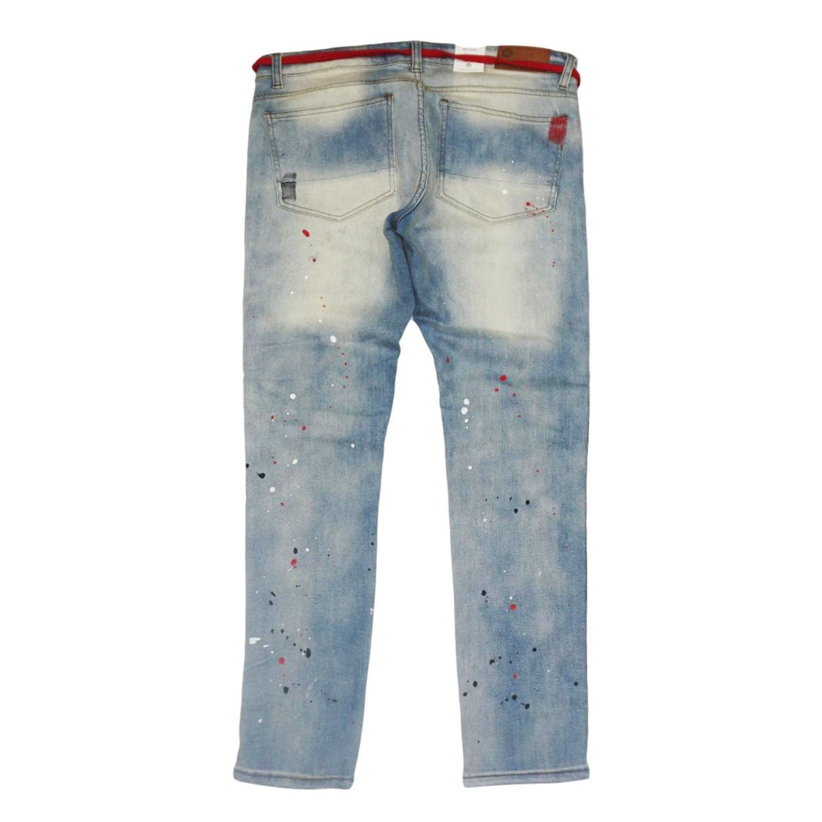 Paisley Patch Splatter Red Stripe Denim (Vintage) /C8