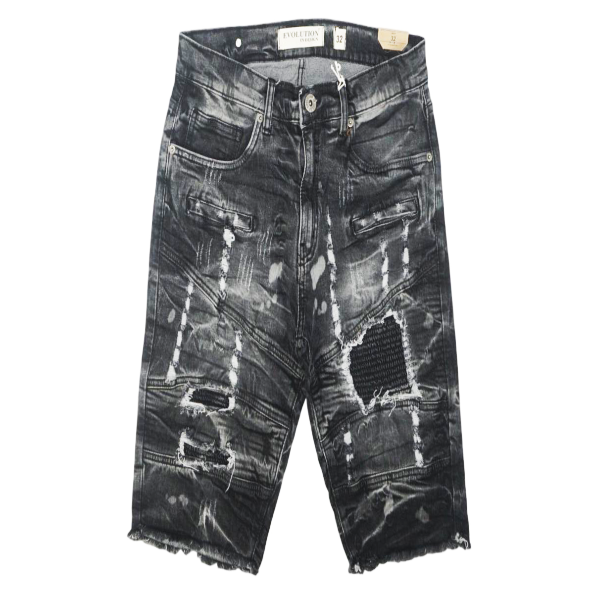 Distressed Biker Washed Shorts (Blk/Grey) /C2