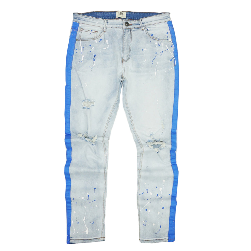 Distressed Blue Paint Stripe Splatter Denim (Blue) /C1