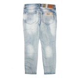 Neptune Stretch Striped Denim Distressed with Splatter /D3