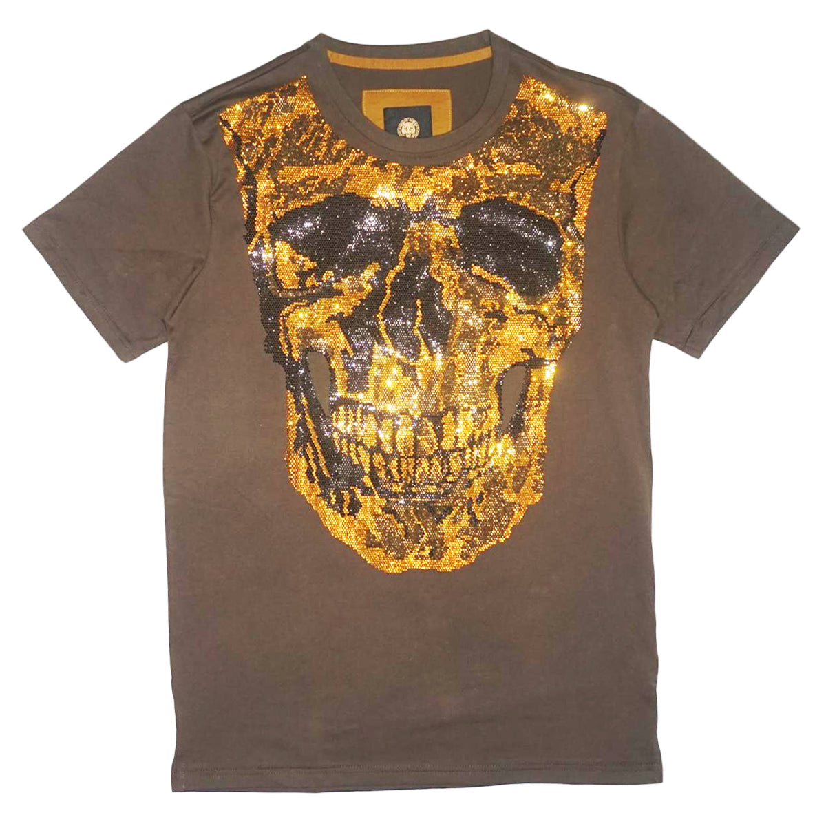 Skull Head Crystals T-Shirt (Olive)