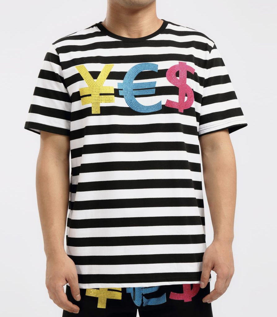 Stoned Striped Currency Shirt (Black) / D3