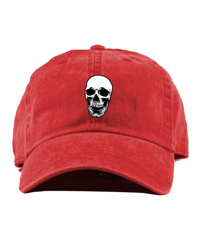 Skull Denim Dad Hat (Red)