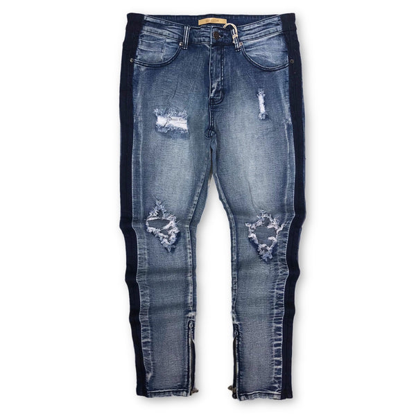 Distressed Stripe Skinny Denim (M. Blue)/ C8
