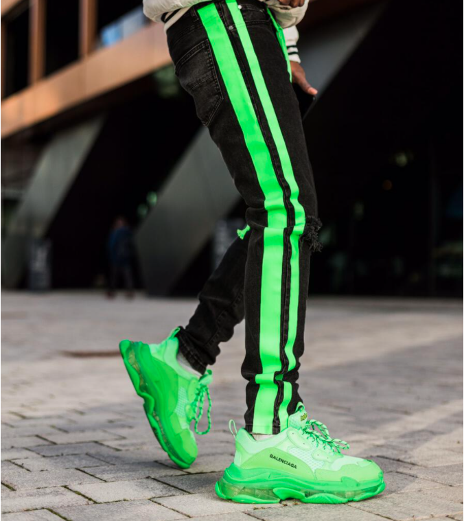 Double Striped Track Jeans V3 (Neon Green) / C5