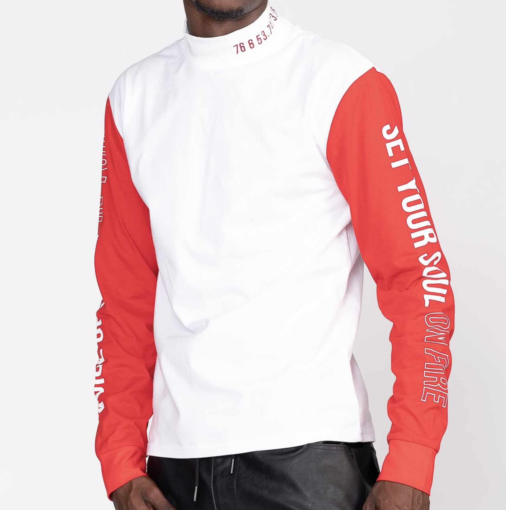 Set Your Soul Mock Neck L/S (Wte/Red) / D9