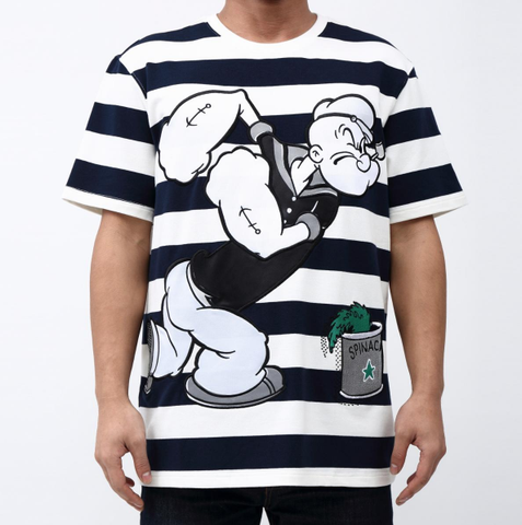 Striped Popeye Tee (Wte/Navy)/D8