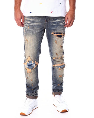Slim Vintage Wash Ripped Jeans (Blue) / C3