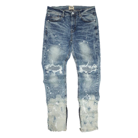 Splashed Ankle Zip Denim (Blue) / C3