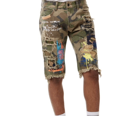 Paint Graffiti Denim Shorts (Wood Camo) /C3