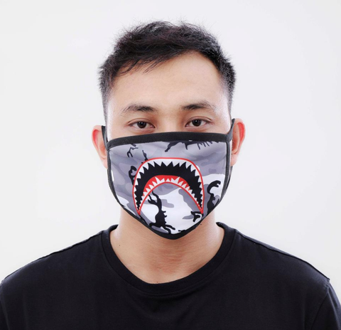 Sharkmouth Camo Face Mask (Black)