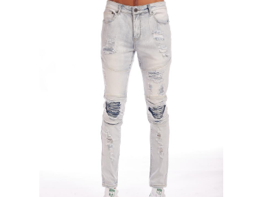 Distressed Rip Biker Denim (Snow Indigo) /C3