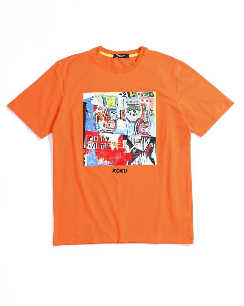 Scribble Art Tee (Orange) / D7