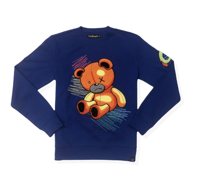 Scribble Bear Crewneck (Royal) / D18