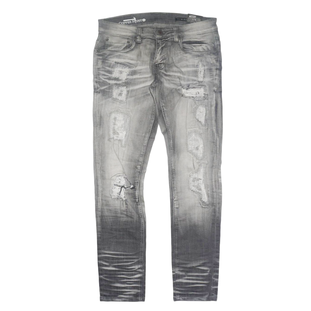 Vintage Wash With Zig Zag  Denim (grey)/ D9