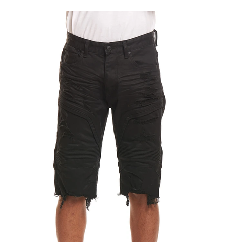 Distressed Engineered Denim Shorts (Black) / C3