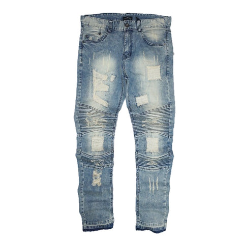 Destroyed Moto Skinny Denim (Med. Blue) /C6