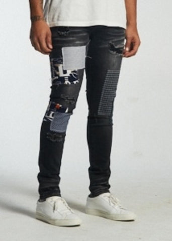 Charter Patchwork Denim (Black) / C6