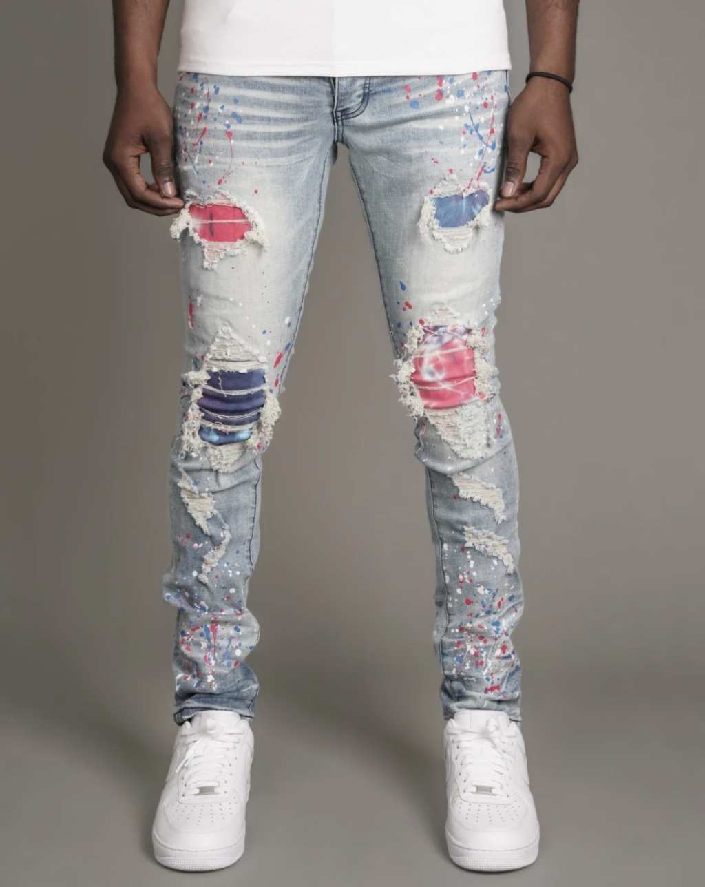 Drake Distressed Splatter Denim (Blu/Pink) /C8