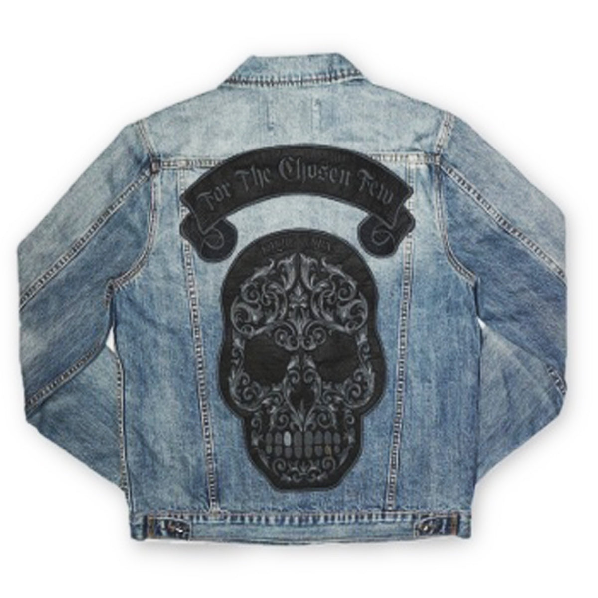 Skull Patch Denim Jacket (Denim)
