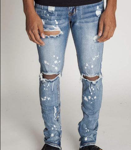 Distressed Bleach Ankle Zip Denim (Med. Blue) / C7